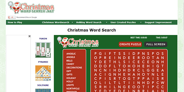 Christmas Word Search Screen Shot