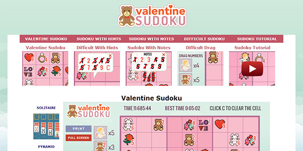 Valentine Sudoku Screen Shot