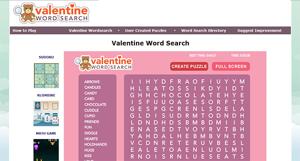 Valentine's Day Word Search Screen Shot